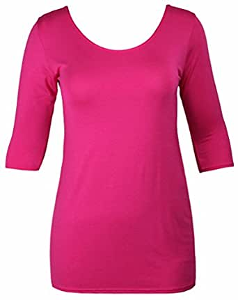 Womens new bodycon stretch fit long top ladies three for Three quarter length shirt