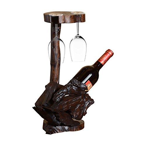 BEIQI Wine Rack Schwingen in Rotem Glas Rack invertiert Flaschen. Massivholz Antik Kreative Wein Display Rack Kreative Schwingen. (Glas Flaschen Antike)