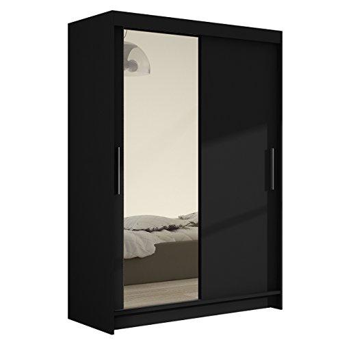 Schwebetürenschrank Kleiderschrank Miami VI mit Spiegel, Modernes Schiebetürenschrank, Schlafzimmerschrank, Garderobe, Schlafzimmer (Schwarz)