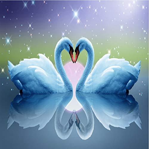 Outtybrave double Swan Diamant Peinture, 50 * 27 cm, à broder Diamant de Strass pour décoration de la maison