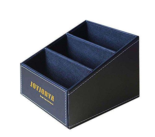 Joyjorya Home Office Holz Struction Leder Multifunktions-Schreibtisch Stationery Organizer Storage Box, Halterung für Fernbedienung (schwarz) (Storage Organizer Box)