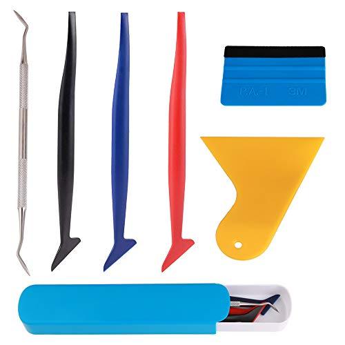 TOOHUI® 6Pcs Auto Micro Rakel Vinyl Wrap Grafik Anwendung Folienrakel Kunststoffrakel mit unterschiedlicher Härte für Autofolierung Film und Fahrzeug Wraps, Folienrakel mit Filzkante -
