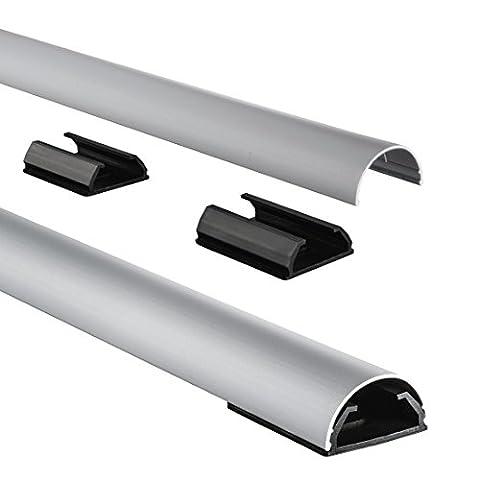 Hama Kabelkanal Alu (Aluminium, halbrund, 110 x 3,3 x 1,8 cm, bis zu 5 Kabel, 4 Halteclips) silber (Kabelkanal Für Tv)