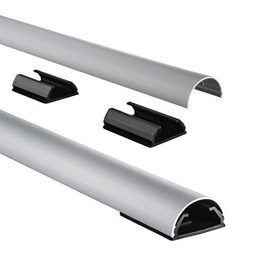 Hama Kabelkanal Alu (Aluminium Leiste für TV Wandhalterung, Kabelabdeckung halbrund,  110 x 3,3 x 1,8 cm, Kabeldurchführung für bis zu 5 Kabel, inkl. Montagematerial) silber -