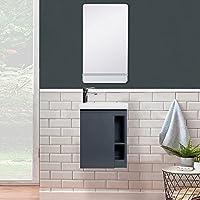Lave-Mains Hampton + Miroir L40 cm avec Tablette Blanche