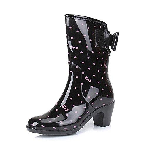 Rutschfeste Damen Regen Stiefel wellies Black