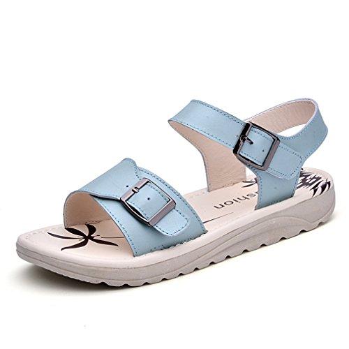 Sandálias Femininas Suave Sola Lisa Anti-slide Simples Fivela De Metal Slingback Lazer Sapatos Confortáveis de Verão Azuis