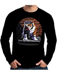 Velocitee Mens Long Sleeve T Shirt British Bulldog Gangster A10535