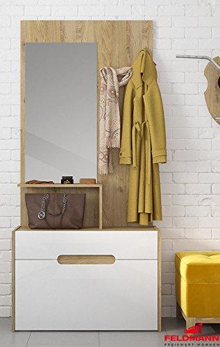 Garderobe Kompaktgarderobe mit Spiegel 0 eiche shetland  weiß Hochglanz
