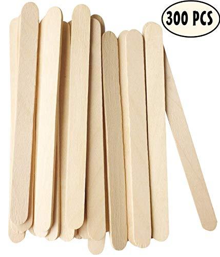 MMM1 300 Stück Holzstäbchen Holzspatel,11.4 cm lang,1 cm breit, Holzeisstiele zum basteln,holzstäbe,Holzstäbchen,Holzstiele,eisstiele aus Holz, Holzspatel Stiele