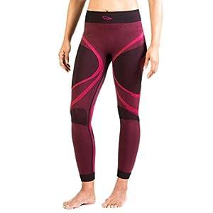 XAED - pantaloni a compressione, da donna, Medium, colore nero / fucsia
