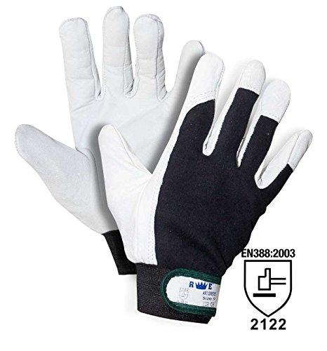 redelguanto Handschuh Mod.Golf Innenhand aus Leder/Rücken Baumwolle mit Klettverschluss, XL (10), weiß / schwarz, 1