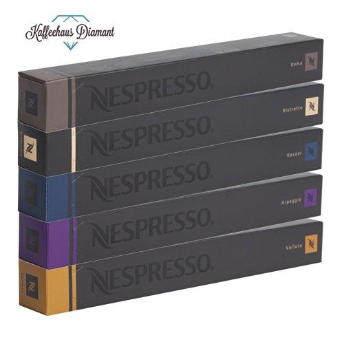 NESPRESSO Capsule Originali Caffe Assortimento, 50 Capsule - 10x Roma 10x Ristretto 10x Kazaar 10x Arpeggio 10x Volluto - compatibili originali