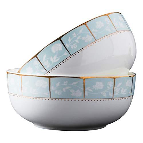 Nudelschüssel 2 Stücke von Bone China Gold Trim Home Dining Geschirr kann für Mikrowelle Runde 7 Zoll verwendet Werden Bone China Gold Trim