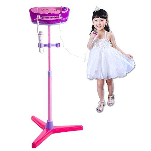 YAKOK Mikrofon Kinder, USB Einstellbar Karaoke Kinder Mikrofon mit Ständer Standmikrofon mit Bluetooth Funktion für Mädchen 3-10 Jahre (Rosa)