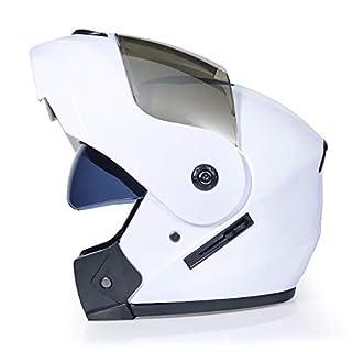 DanNN Motorrad Full Face ECE Helm-YEMA YM-829 Racing Motorcycle Helmet mit Sun Visor,White,M
