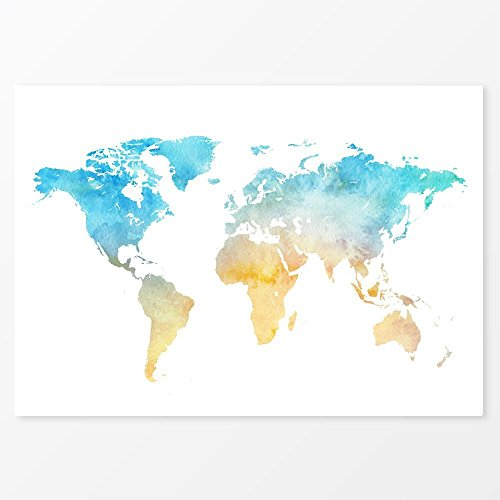 watercolour-world-map-poster-blue-yellow-print-size-5x7-8x10-11x14-a5-a4-or-a3-220-gsm-photo-paper
