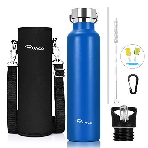 Ryaco Trinkflasche Edelstahl Wasserflasche 560ml 750ml 1000ml, Vakuum-Isolierte BPA-frei auslaufsicher Thermosflasche, 24 Std Kühlen & 12 Std Warmhalten, Inklusive 2 austauschbare Kappen (Saphir)