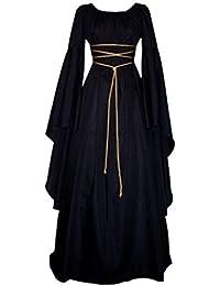 Damen Kleid Maxikleid Retro Boho Kleid Rundhalskleider Halloween Kostüm Langarm Kleid Renaissance Gotisch Kleider