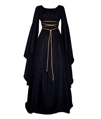 Mujer Mangas Largas Vestido Medieval De Señora Maxi Vestido Renacimiento Gótico Vestido Negro 2XL
