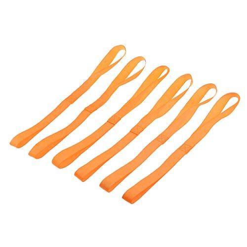 MagiDeal 6 Pcs Zurrschlaufen Spanngurt Tie-Down Straps für ATV UTV Motorcycle and Dirt Bike 18 Zoll - Orange