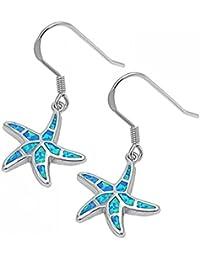 925 pendientes de las estrellas de mar de plata de ley con la gema de ópalo Lab