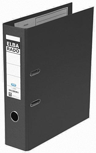 Preisvergleich Produktbild ELBA Kunststoff-Ordner rado plast 8 cm breit DIN A4 schwarz mit Einsteckrückenschild Ringordner Aktenordner Briefordner Büroordner Plastikordner Schlitzordner