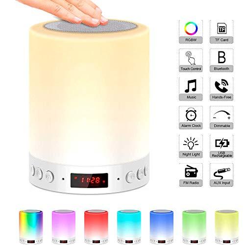 SZFREE Portable Tactile Bluetooth Haut-Parleur Lampe De Chevet Rechargeable Lampe De Table USB Radio FM Multicolore LED Lampe RéVeil Haut-Parleu