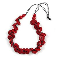 Avalaya Statement Button Wood Bead Black Cord Necklace (Red) - 84cm L