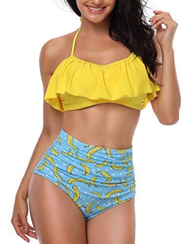 Heekpek Mujer Bikini con Cuello Halter Acolchado y Volante Acanalado de Cintura Alta y Traje de baño...