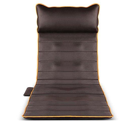 Massagematte mit vibration wärme und timing-funktion,10 motoren,positionierungsmassage und 9 stufen der stärke massageauflage für haus büro Braun
