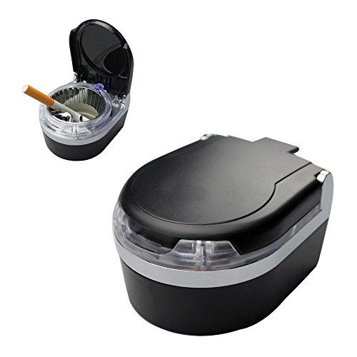 Preisvergleich Produktbild Tragbare Mini Auto Aschenbecher Blaue LED-Licht für Zigarre Zigarette (Schwarz)