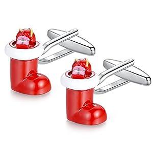 Honey Bear Weihnachtsmann Stiefel Manschettenknöpfe Cufflinks für Weihnachtsgeschenk