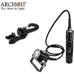 Générique Archon Dh26Wh32plongée Phare CREE XM-L U33-modes 1100LM Bidon plongée lampe de poche avec 2* 26650batterie
