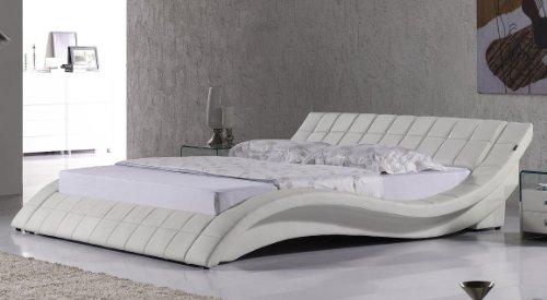 i-flair Polsterbett, Kunstlederbett R0W 180x200 cm Weiß aus hochwertigem Kunstleder