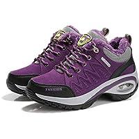 Cojín de Aire para Mujer Zapatos para Correr Peso Ligero Transpirable Suela Gruesa Algodón Acolchado Calientes Calzado Invierno otoño Calzado Deportivo - Púrpura 36