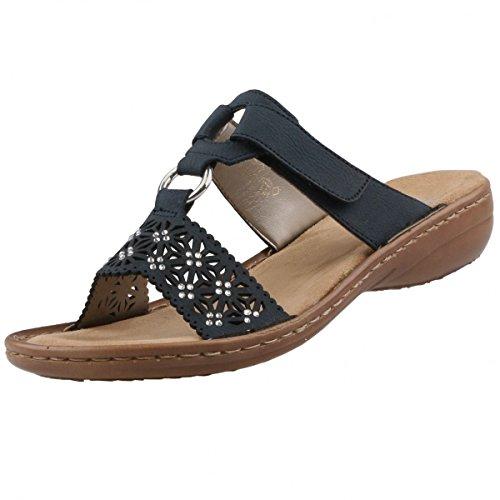 Rieker Damen Pantoletten Blau, Schuhgröße:EUR 38