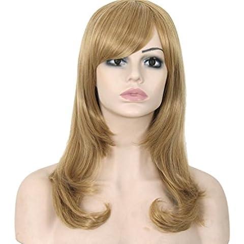 ZZHH Europa esponjoso popular verdadero peluca rubia