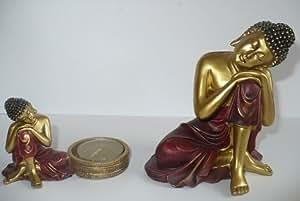 Lot d'une bougeoir / porte bougie photophore bouddha thai + une statue bouddha thai Statue Figurine Bouddha Thai Méditation Zen Bouddhisme bouddhiste tao taoiste tête moine thai chinois taoisme Asie Oriental