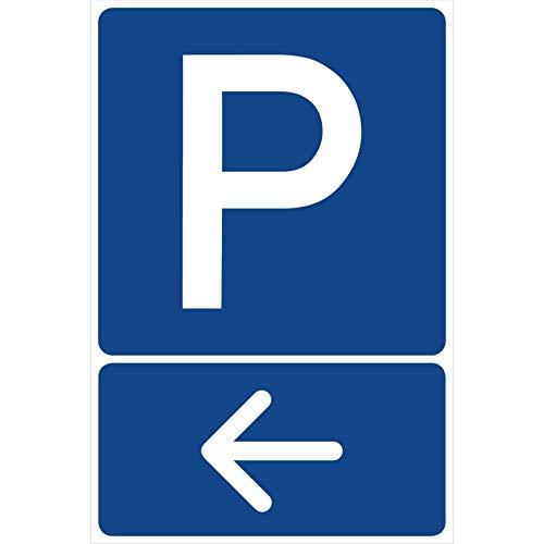 Parkplatzschild Pfeil Links Parken Schild Blau 30 x 20 x 0,3 cm Kunststoff Parkplatzmakierung Parken Parkplatzschilder Parkplatz Hinweisschild, Verbotsschild, Parkplatz Freihalten