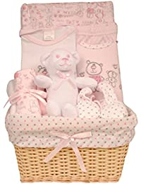 Cesta de bebé Set de regalo, 0–3meses–Juguete, Wrap, body, pantalones, de patucos, babero, Wash & Paños para bebés