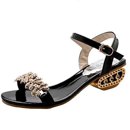 Zhrui sandali diamante in nastro oro con diamanti per le donne, zeppa con plateau sandali gioiello glitter scintillanti con plateau e tallone tacco basso misura 2-9 (colore : nero, dimensione : 5 uk)