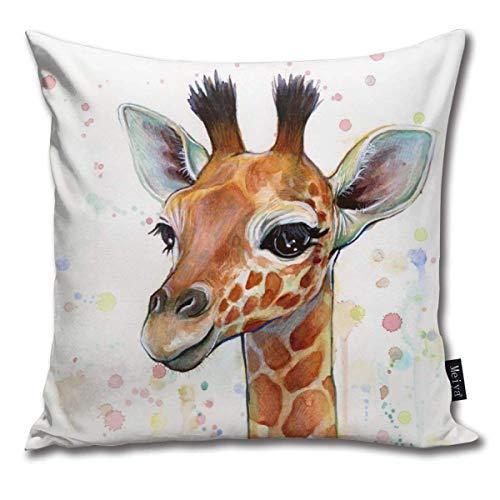 atopking Kissenbezug Giraffe Baby Aquarell Dekor Kissenbezüge Wurfkissenbezüge für Sofa und Couch 45x45 cm