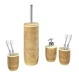 Quantio WENKO Badezimmer Set aus 2X Zahnputzbecher, 1x Seifenspender und 1x WC-Garnitur Amphore