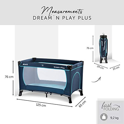 Hauck Kindereisebett Dream N Play Plus inklusive Matratze, seitlichem Reißverschluss, und Transporttasche, ab Geburt, tragbar, faltbar und klappbar, blau (navy aqua) 120 x 60 cm - 2