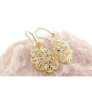 Etrusca Gioielli Donna Orecchini Pendenti Placcati In Oro Giallo 18 carati in Filigrana Floreale con Pietra Preziosa da regalare in ogni occasione