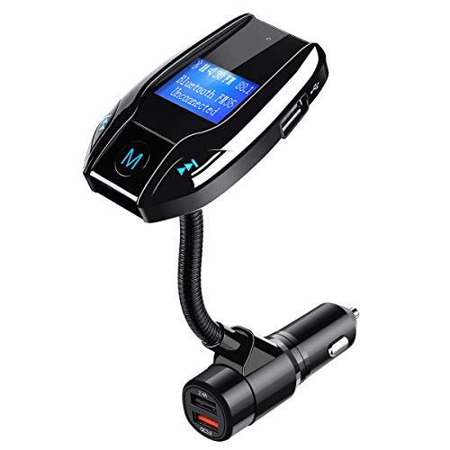 [2019 Neu Version] Bluetooth FM Transmitter KFZ Tvird Radio Adapter Smart Dual USB-Anschlüsse mit 2 USB Ladegerät,für iOS und Android Geräte 5V/2.4A Quick Charger 3.0 KFZ 1,44 LCD-Anzeige