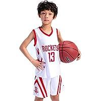 Jwu Conjunto de Sudadera de Baloncesto para niños, Rockets # 13 Harden Ropa de Baloncesto para niños Chicos de niños Sudaderas Transpirables Pantalones Cortos de Baloncesto para jóvenes