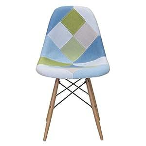 Lo + deModa Wooden Patchwork–Chaise, Bois, 83x 41x 49cm, couleur Multicolore