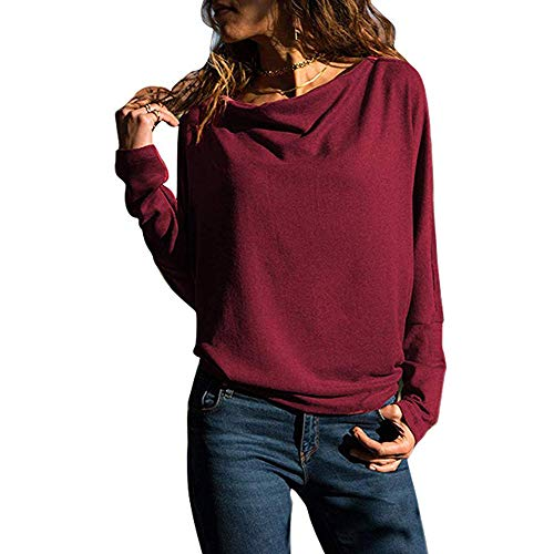BHYDRY Womens Long Sleeve Solid Color Round Neck Hooded Sweatshirt Blouse Tops(EU-42/CN-M,Wein)